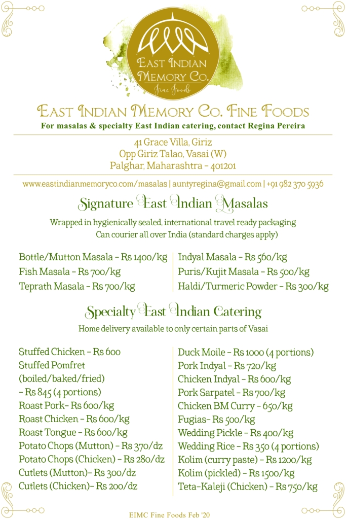 Menu card listing East Indian food for East Indian Memory Co - local caterers in Vasai and Mumbai